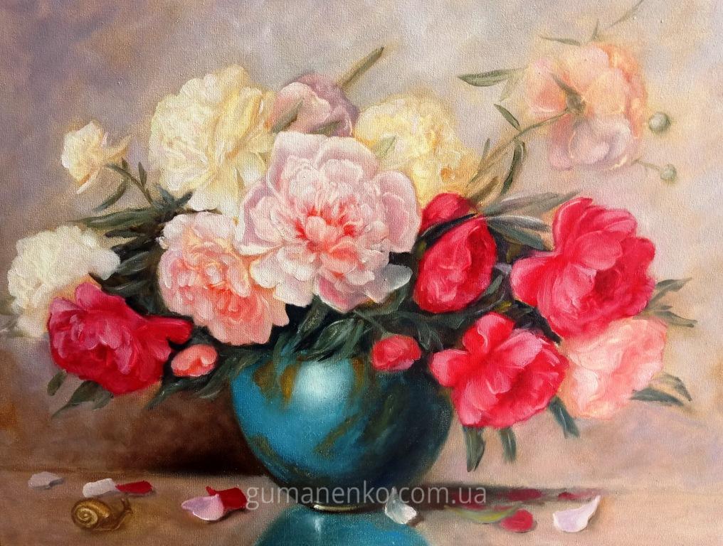 "Картина ""Пионы в синей вазе"", холст 60х45 см., масло."