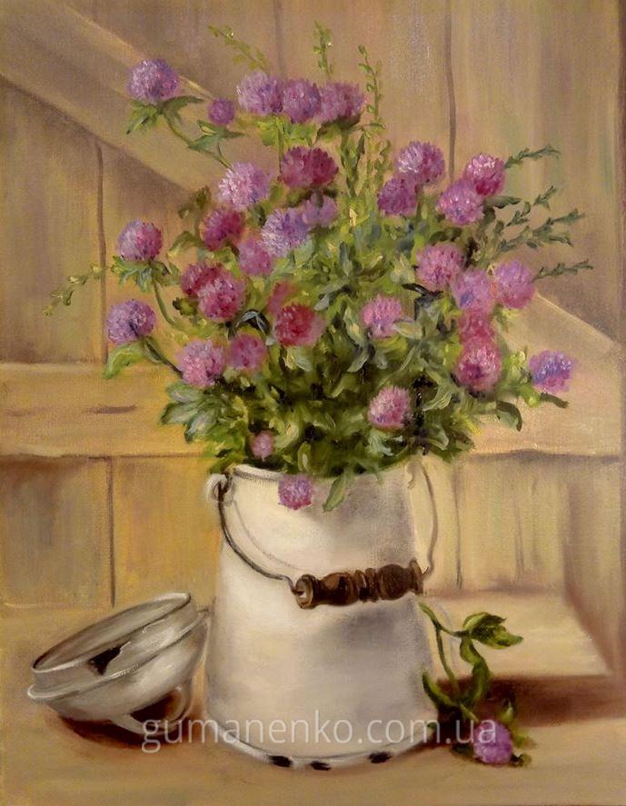 "Картина ""Клевер луговой"", холст 35х45 см., масло."