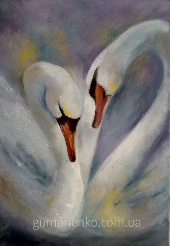 """Картина """"Пара лебедей"""", холст 35х50 см., масло."""