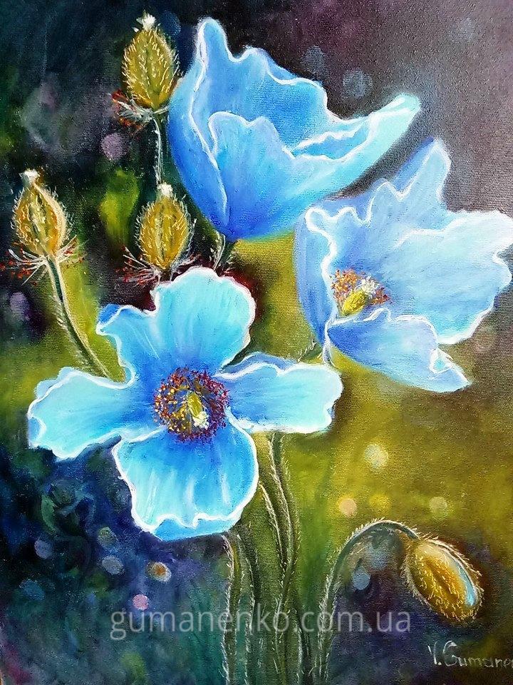 "Картина ""Голубой гималайский мак"", холст 40х50 см., масло."
