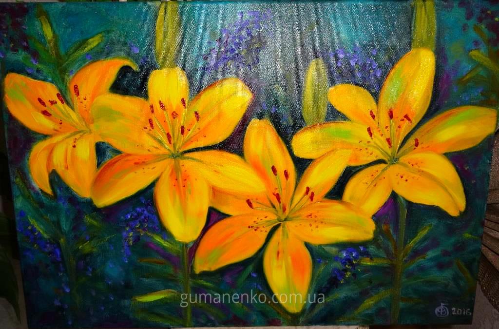"""Картина """"Лилии цвета солнца"""", холст 50х35 см., масло."""