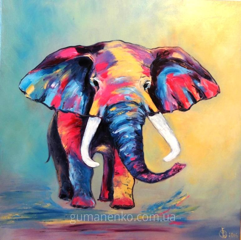 Счастливый слоненок 45х45см.