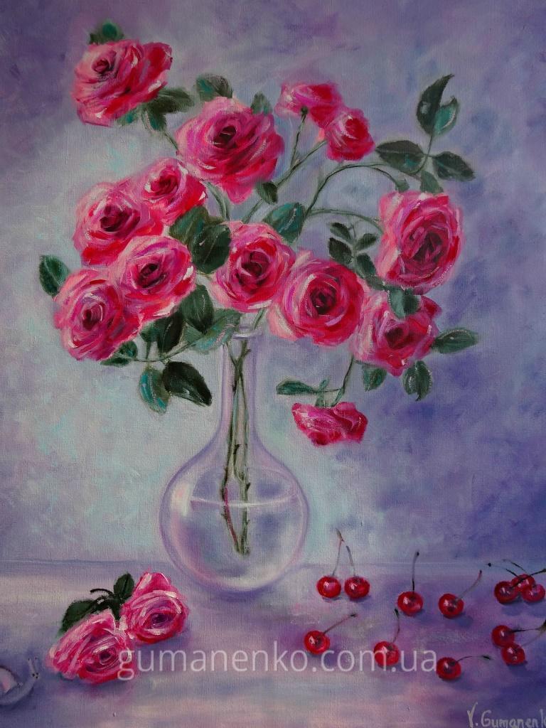 "Картина ""Летние розы"", холст 50х60 см., масло."