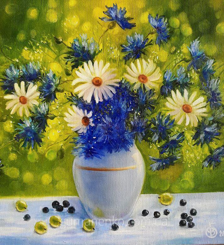 Картина Цвет настроения синий, холст 35х35 см., масло