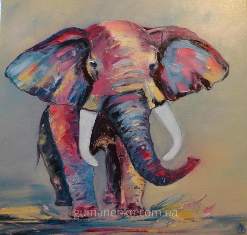 Счастливый слоник 40х40см.