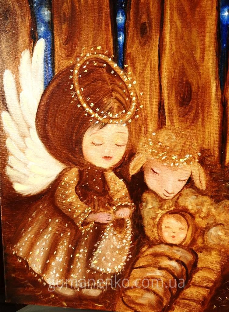 """Картина """"Ангелочек и младенец"""", холст 40х50 см., масло."""