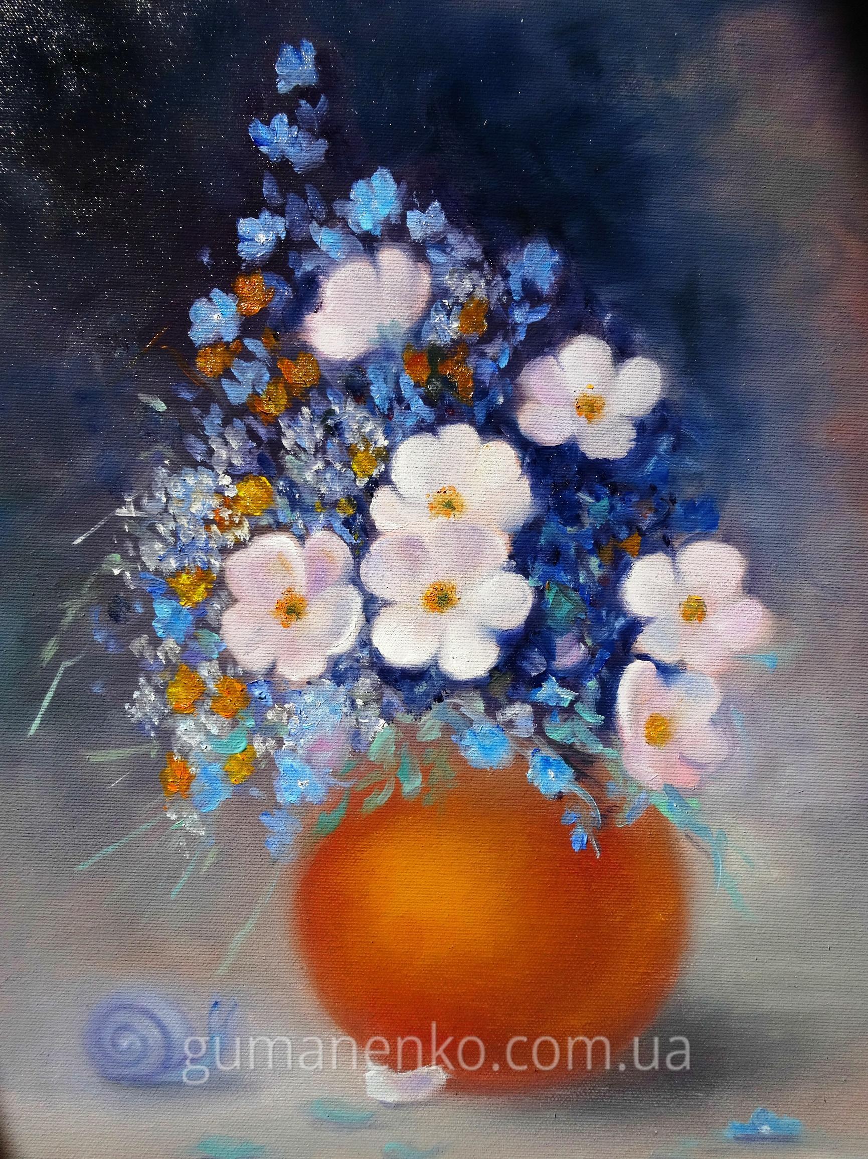 "Картина ""Цветы шиповника"", холст 35х45 см., масло."