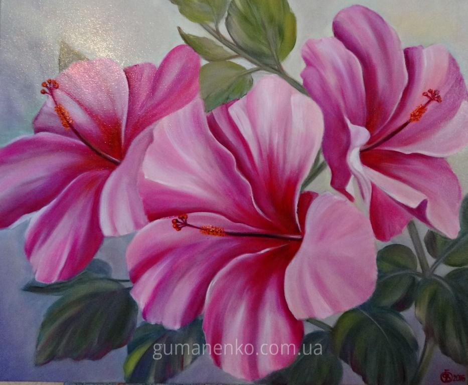 "Картина ""Розовый гибискус"", холст 50х60 см., масло."