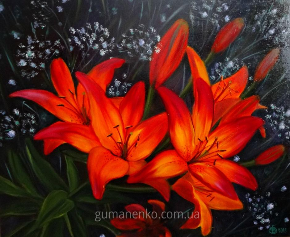 """Картина """"Лилии в саду"""", 60х50 см., холст, масло."""
