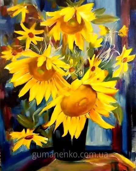 """Картина """"Букет солнечных цветов"""" холст 40х50 см., масло."""