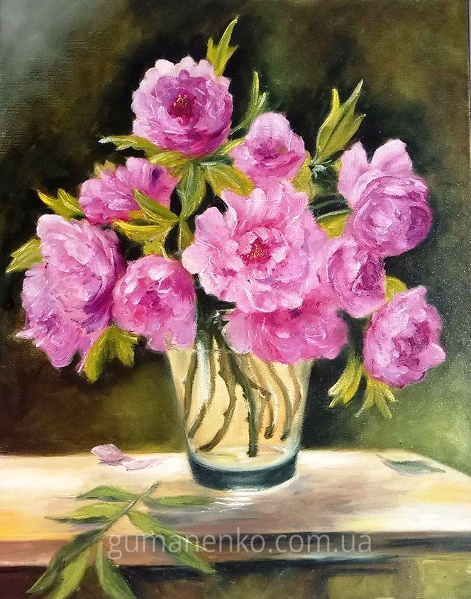 """Картина """"Пионы весеннее настроение"""", холст 40х50 см., масло."""