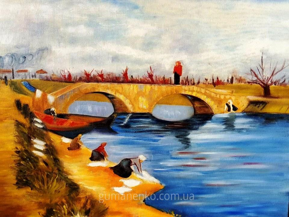 "Картина ""Мост через канал"", холст 60х50 см., масло."