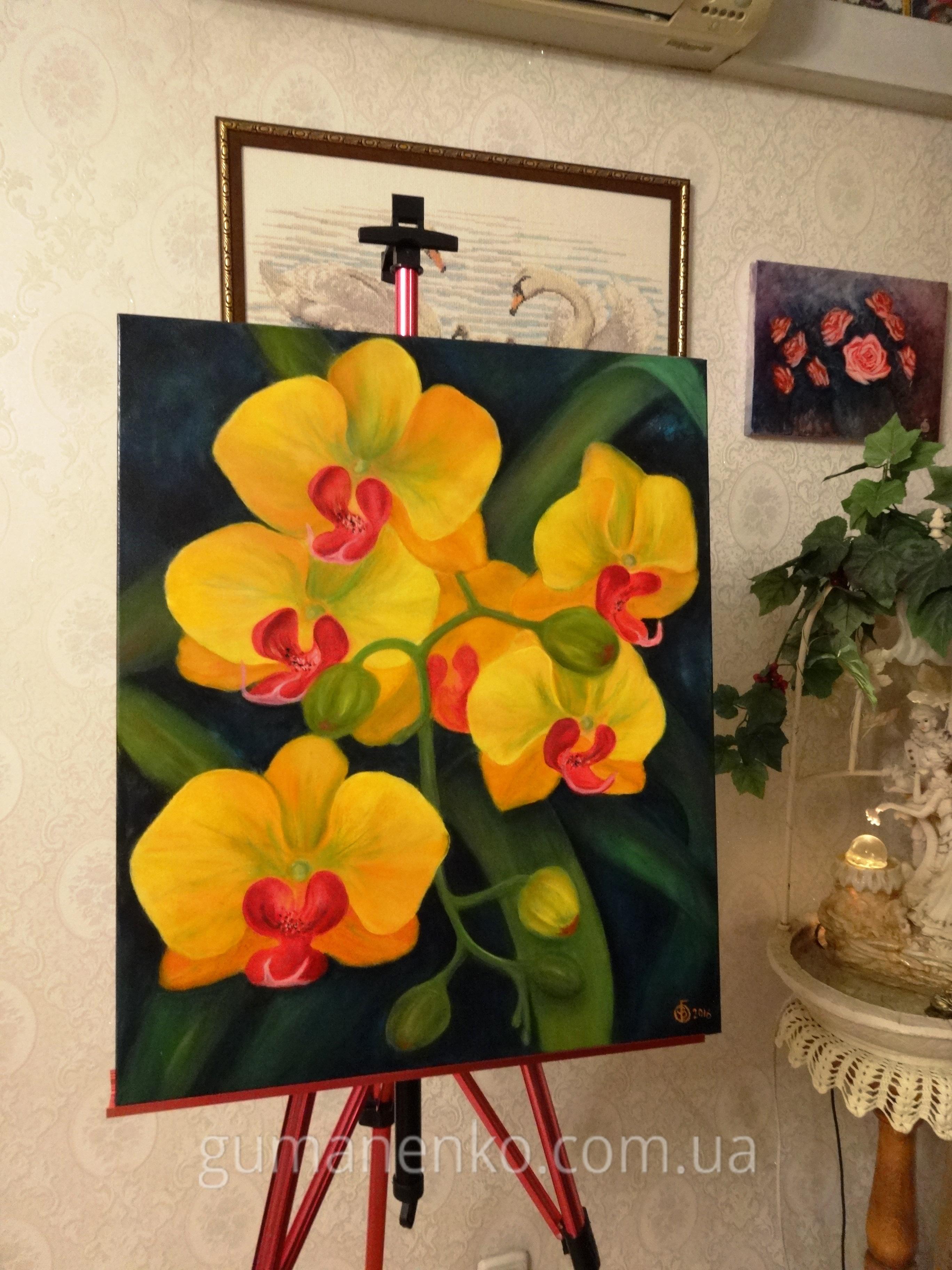 Орхидеи - маленькие солнышки холст 50х60 см., масло