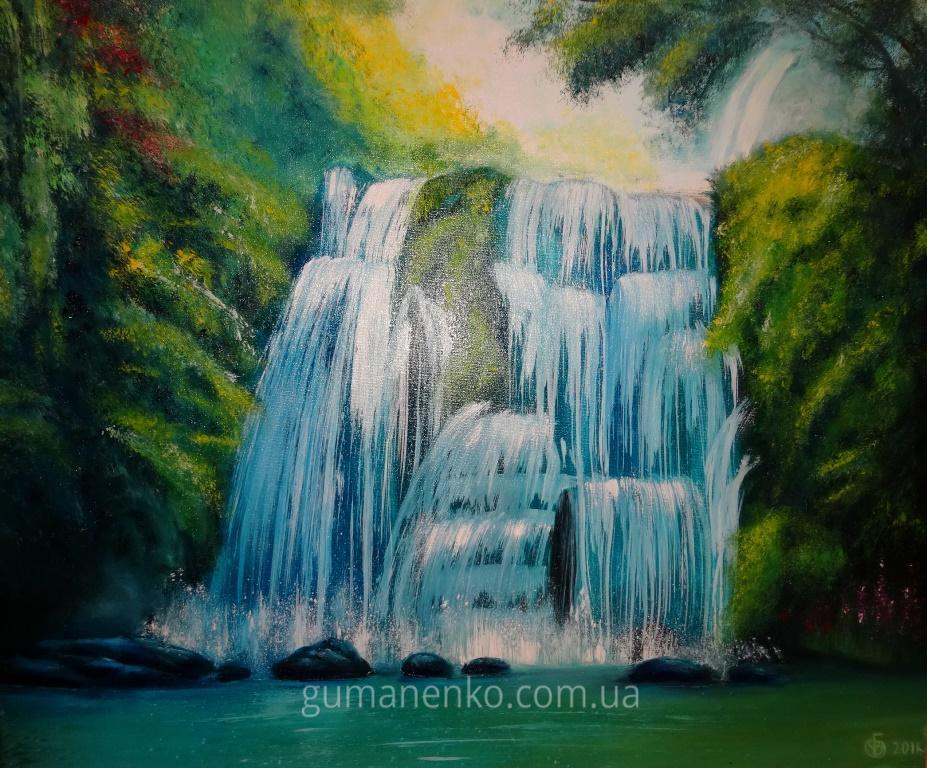 """Картина """"Водопад"""", холст 60х50 см., масло."""
