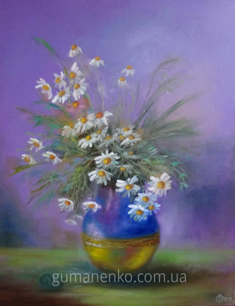 "Картина ""Ромашечки"", холст 50х60 см., масло."