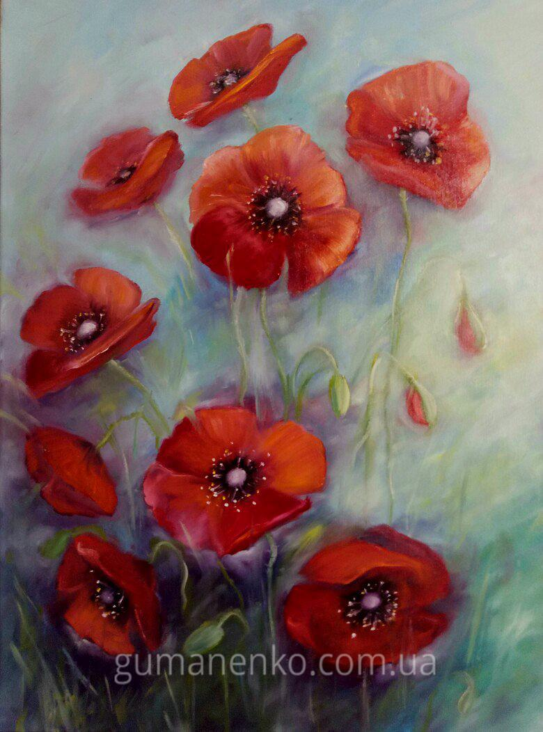 """Картина """"Маки- красные огоньки"""",  холст 45х60 см., масло."""