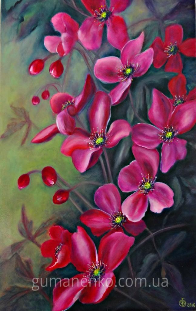 """Картина """"Розовый кустик"""", холст 40х60 см., масло."""