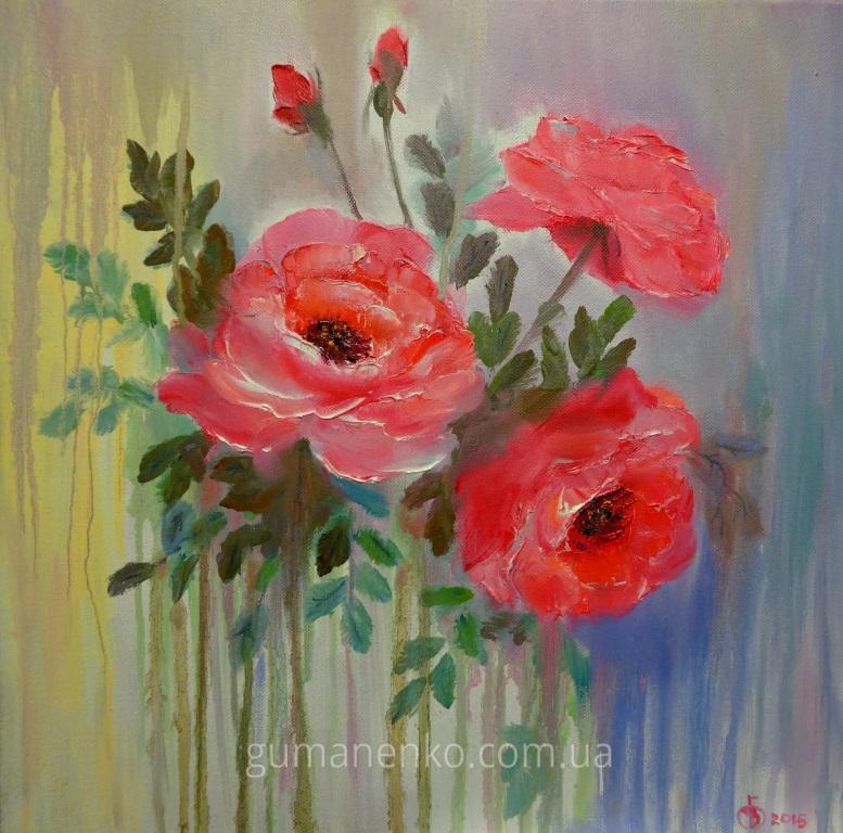 "Картина ""Осенние розы"" 40х40 см., холст, масло."