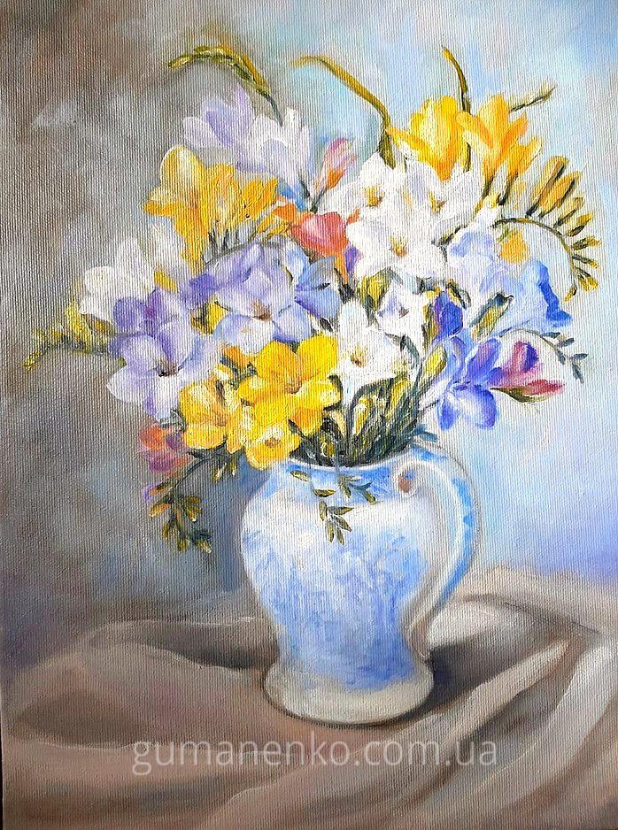Картина Фрезии  холст 30х40 см., масло.