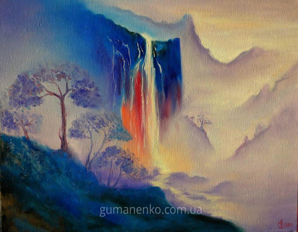 "Картина ""Горный водопад"", холст 50х40 см., масло."